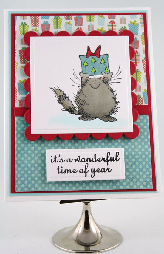 Handmade Christmas Card Holiday Cat with Present by TrioCards, $4.00