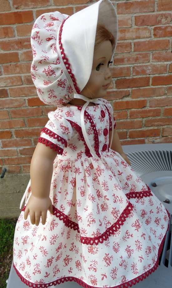 """18"""" Doll Clothes Mid 1800's Fashion Civil War Style Historical Dress Fits American Girl Cecile, Marie Grace, Addy"""