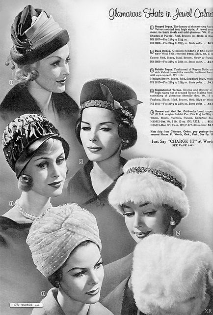 Glamorous hats from 1961. #vintage #1960s #hats #fashion