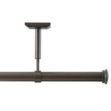Ceiling-mounted curtain rod for curtain canopy around bed