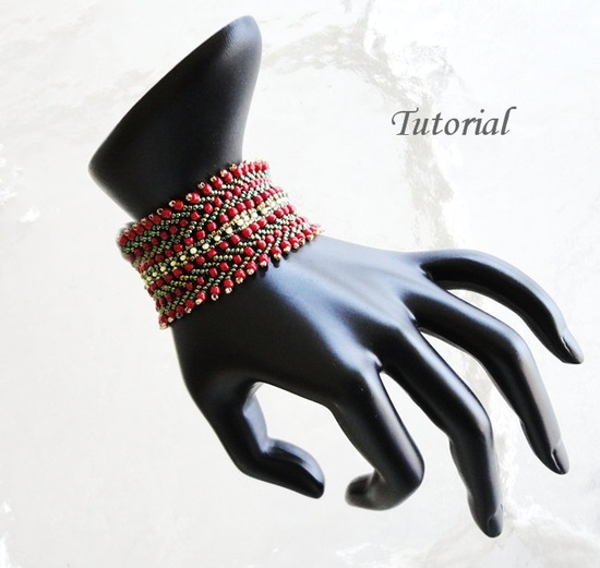 PDF Tutorial for  Manon Beadwoven Bracelet beaded seed bead jewelry beadweaving beading pattern. $4.99, via Etsy.
