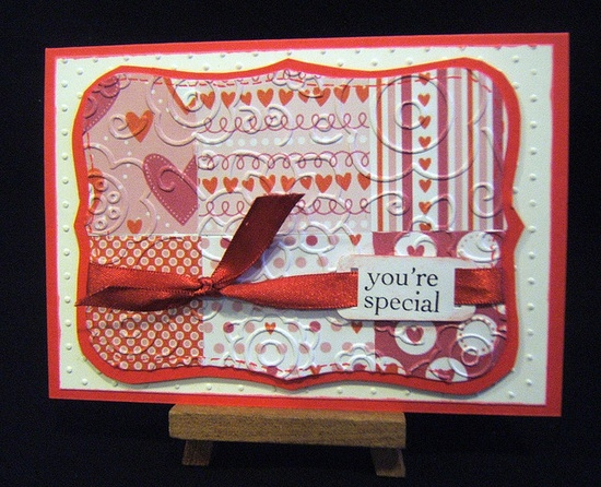 handmade Valentine card ... quilt of Valentine theme papers ... luv it!!