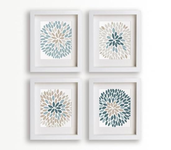 Chrysanthemum Flower Art Prints - Set of Four 5x7s - modern art, home decor, wall decor, living room, dining room, flowers, floral. $39.95, via Etsy.