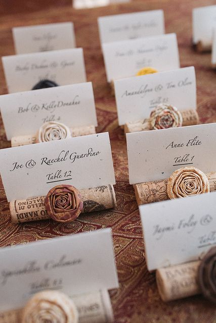name labels seat assignments wedding reception corks