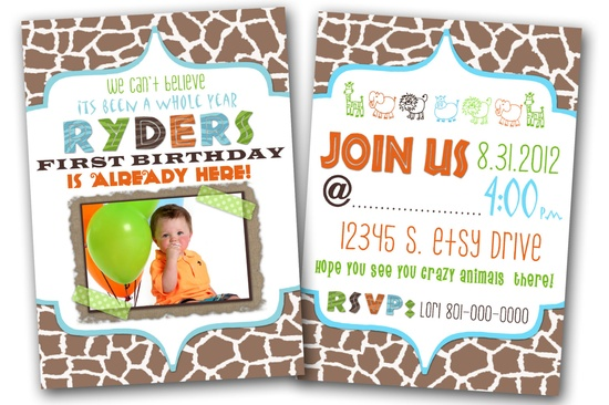 Safari birthday party invitation.