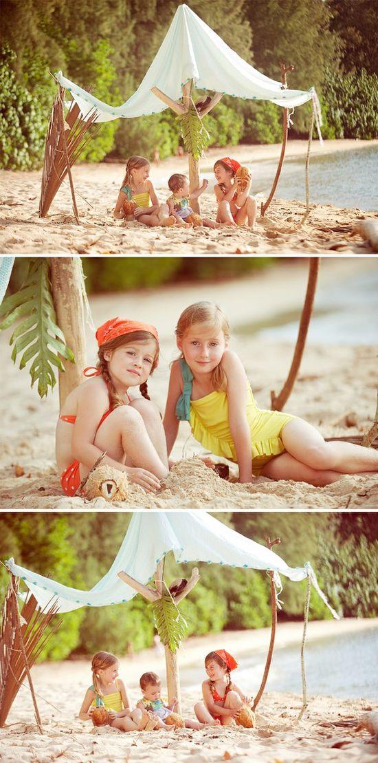 Summer Beach Activities Fun for Kids and Parties: fazer uma cabana na praia