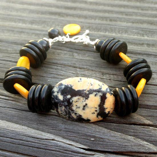 Black and Yellow Bracelet Gemstone Sterling by jewelrybycarmal, $45.00