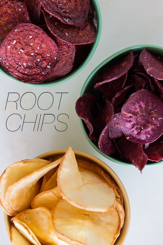 Make your own colorful (and tasty) chips from root veggies.