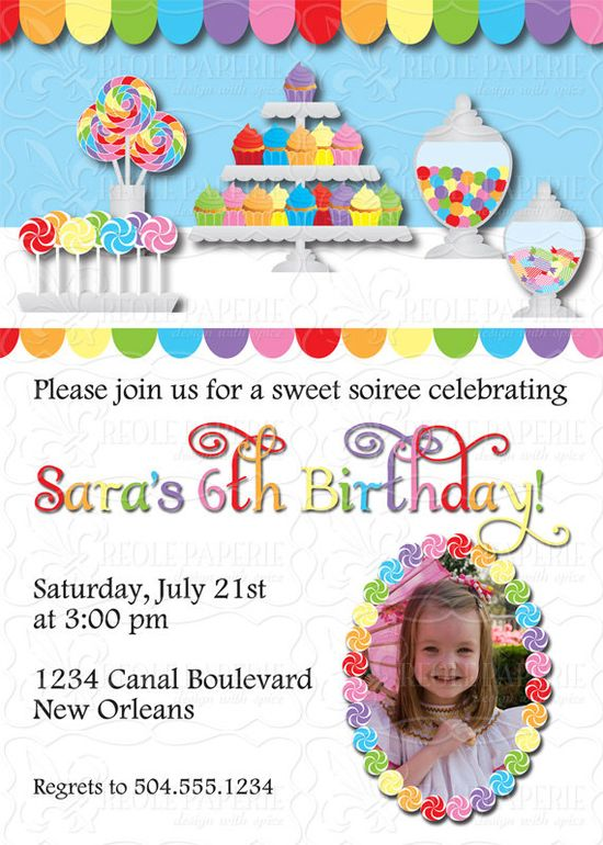 Sweet shop/candy buffet birthday party invitation by creolepaperie