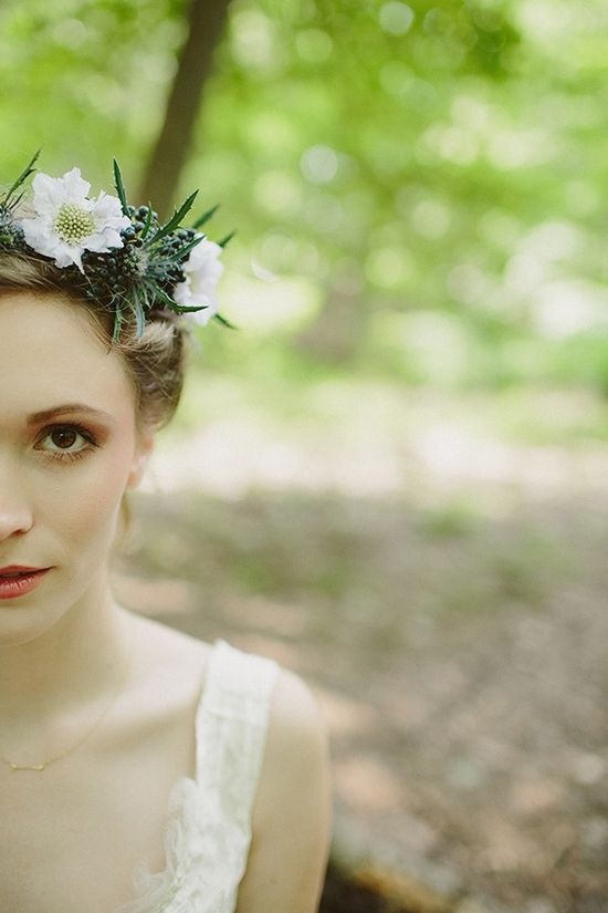bride with thistle floral crown