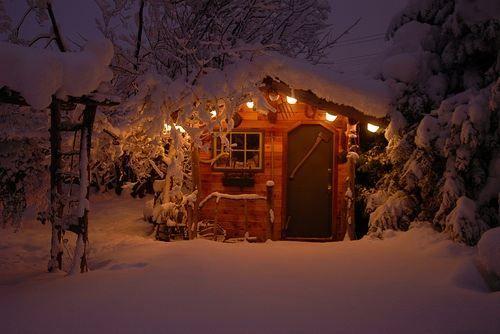 snowy cabins