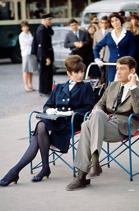 Audrey Hepburn and Peter O'Toole on the Parisian set of How to Steal a Million (1966).