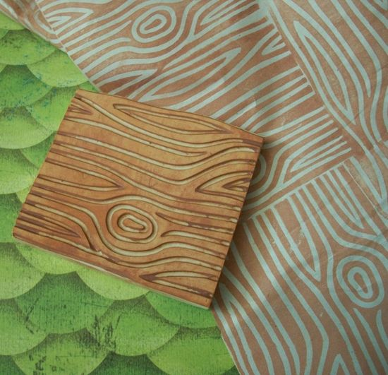 Woodgrain Hand Carved Stamp. $14.00, via Etsy.