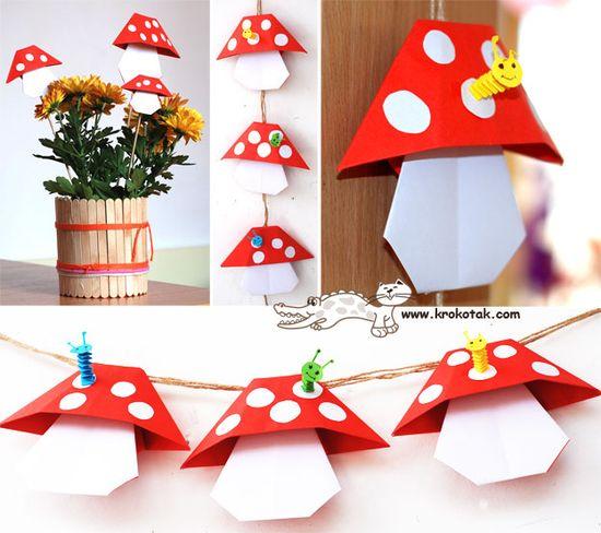 DIY Origami Mushrooms