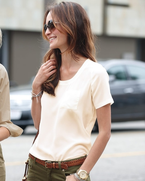 Washed silk casual t-shirt
