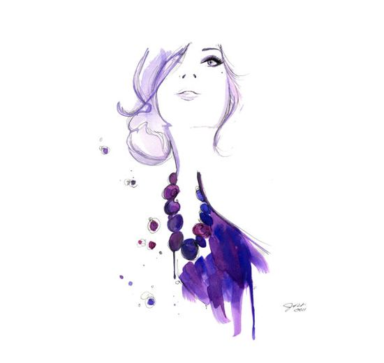 Watercolor Fashion Illustration - Floating Beads print via Etsy