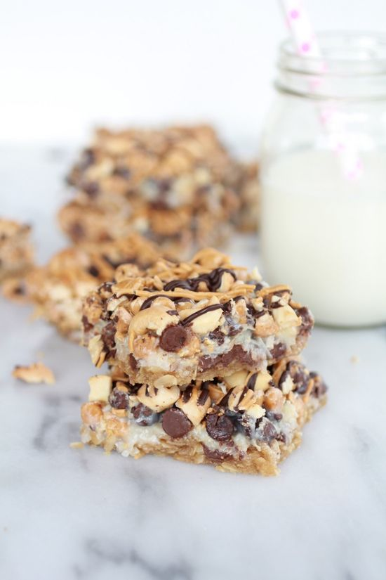 7 Layer Oatmeal Chocolate Chip Cookie Bars - so much better than graham crumb on the bottom - delightful!!