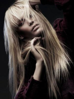 Long Hair Style With Blunt Bangs