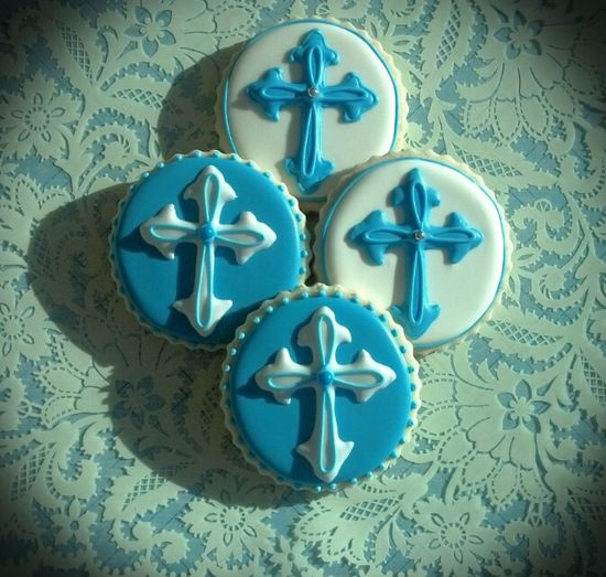 Baptism Cross Decorated Cookies