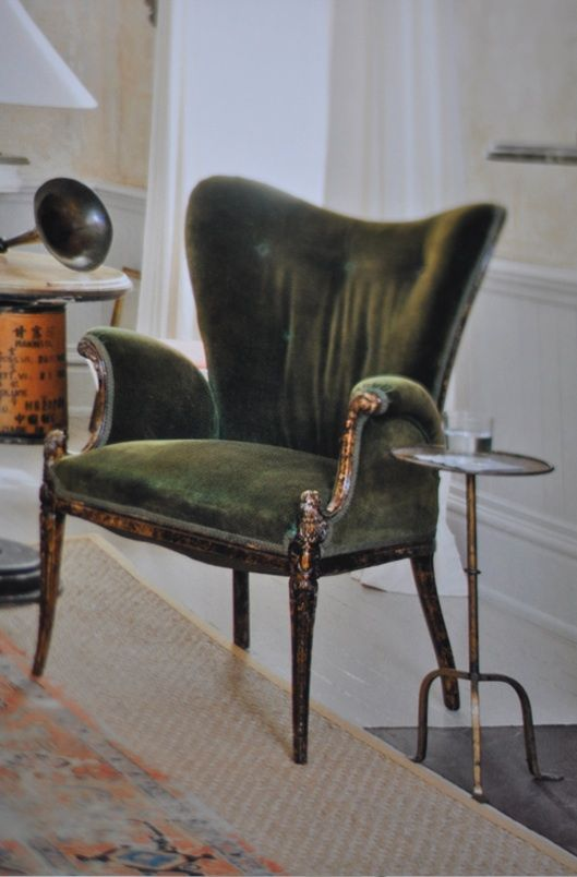 Mossy green armchair.
