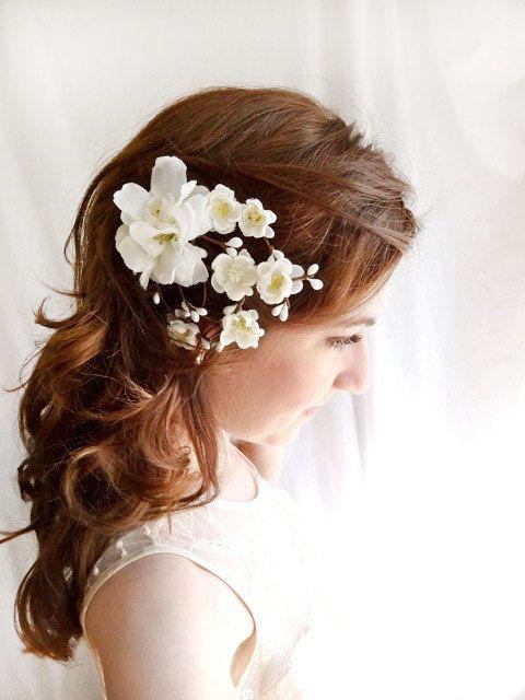 white flower hair clip, wedding hair accessories, bridal hair accessory - EARTH ANGEL - rustic wedding, bridal headpiece on Etsy, $65.00