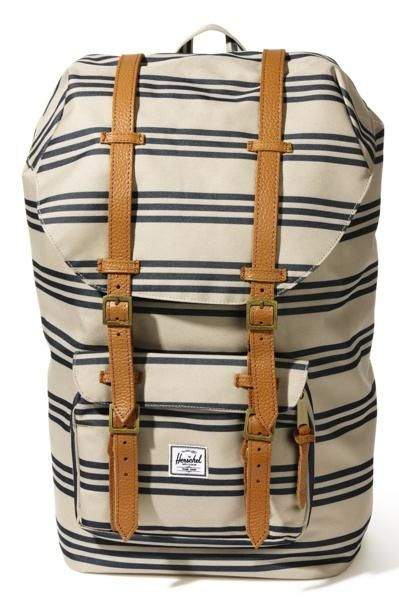 striped backpack.
