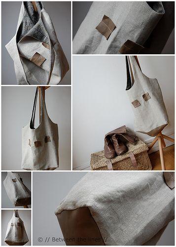 Linen Shopping Bag ~ tutorial