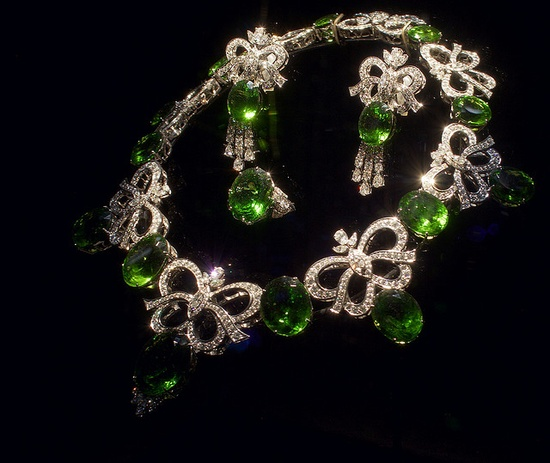 Emerald and diamond necklace, ring and, earrings. Designer: Ernesto Moreira