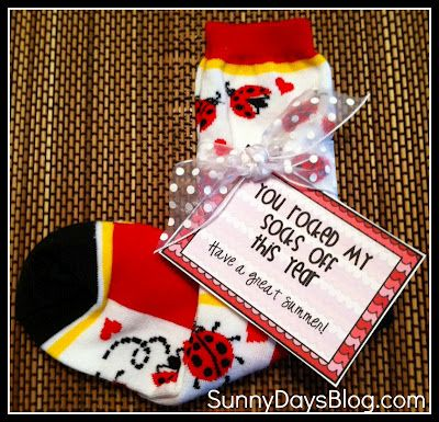 Sock your Students! Free printable tags for fun end of the year gift!
