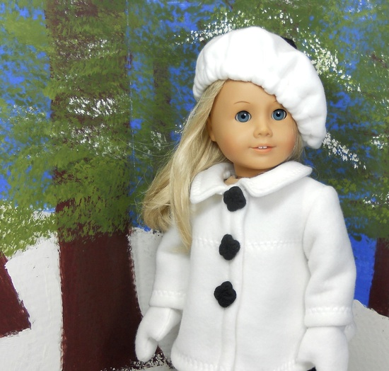 "American Girl 18"" doll coat jacket white fleece with black trim  includes hat and gloves. via Etsy."