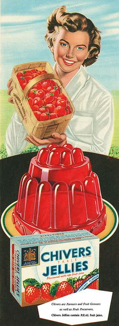 A completely added-ingredient-free-1950s gelatine mold, how is that possible? :D #vintage #ad #food #1950s #jello #gelatine #strawberries