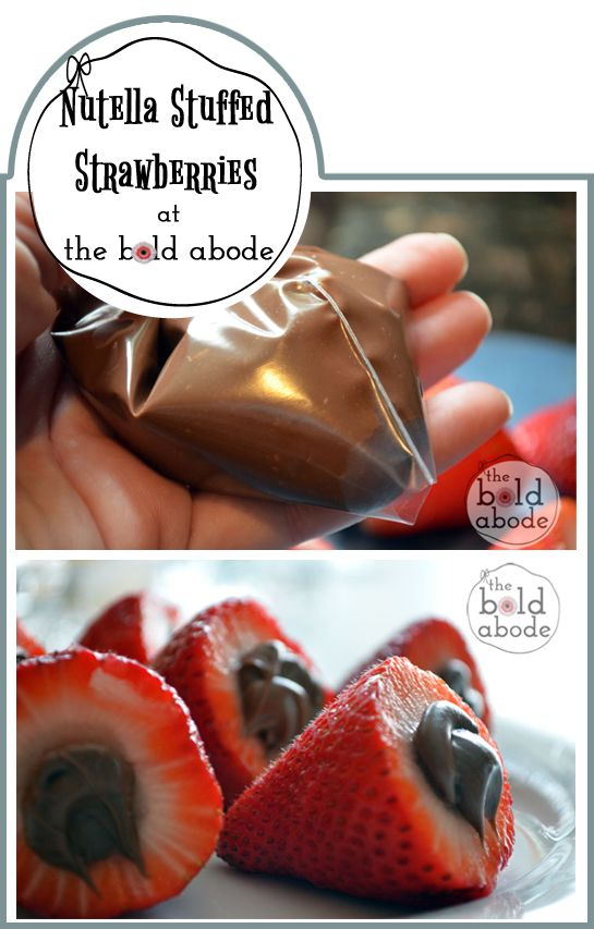 """Nutella Stuffed Strawberries - You could put so many different """"hats"""" on these to match your event theme!"""