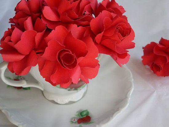 Red Rose Handmade Paper Flower   by weddingpaperflowe...