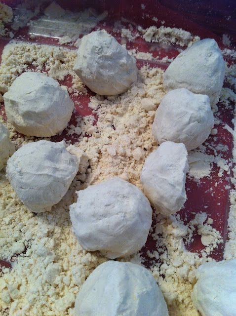 Cloud Dough = flour + baby oil. Like moon dough only very cheap to make. 8 cups flour, 1 cup baby oil.