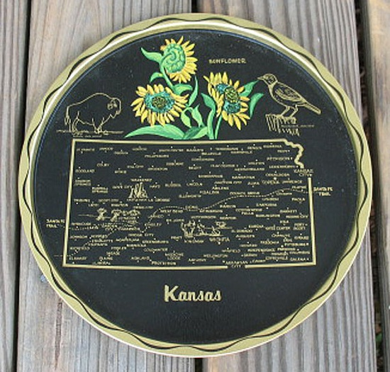 round metal tray for the state of Kansas