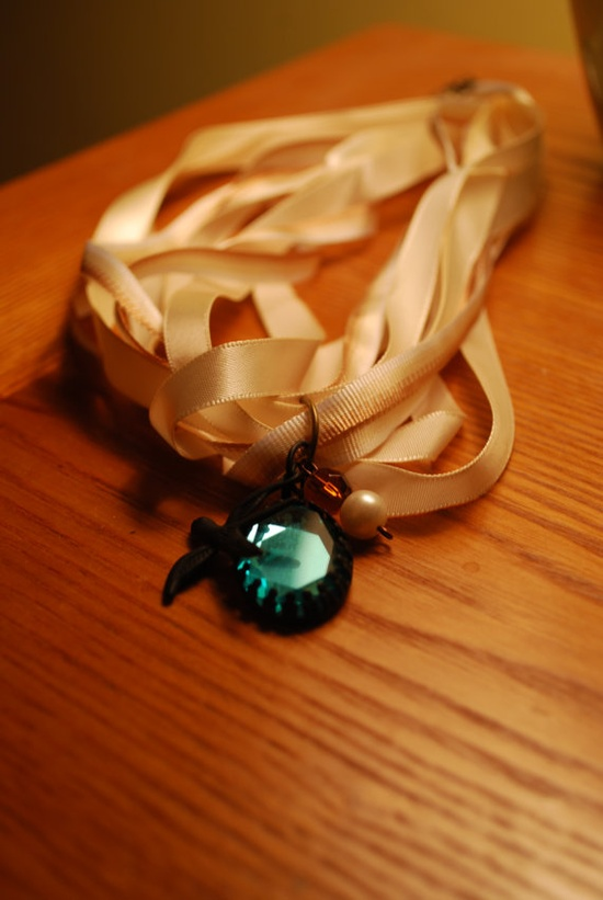 Handmade Charm Ribbon Necklace-$13