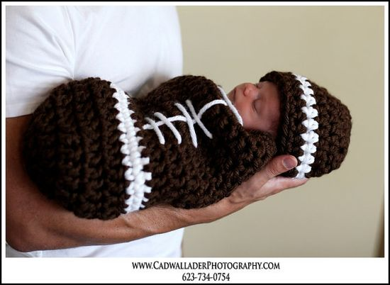 Baby football :) Someone needs to make me this right now. PLEASE!