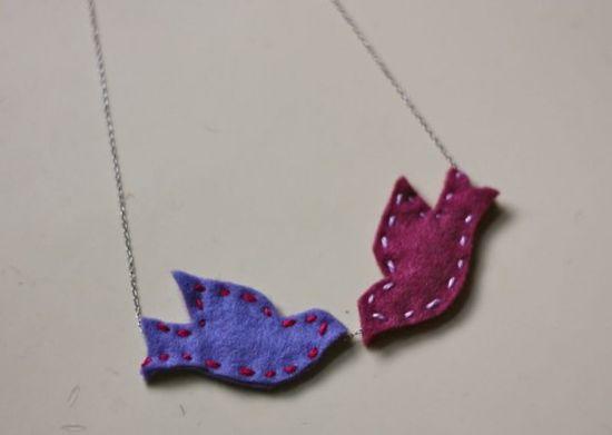 DIY Felt Lovebirds Necklace from Dollar Store Crafts