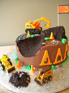 construction cake...crushed oreos for dirt