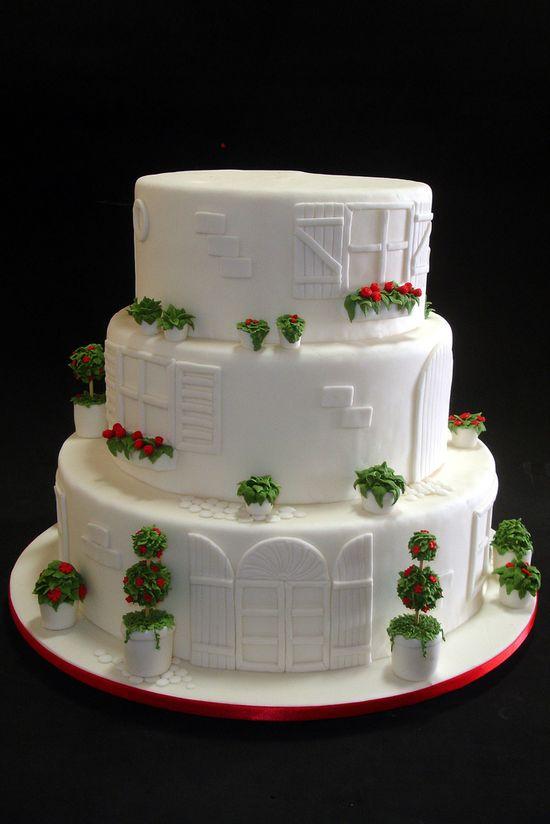 Greece Mediterranean Architecture White Wedding Cake