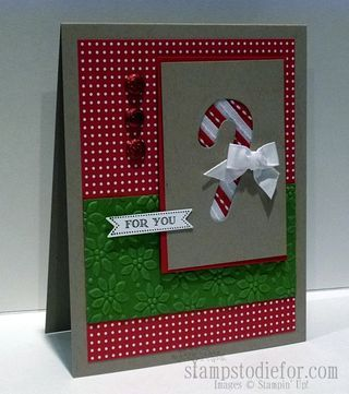 Stampin Up card with candy cane