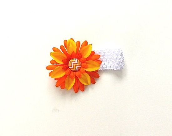 Sunflower Headband white stretch with an orange by SouthernSister2, $6.00
