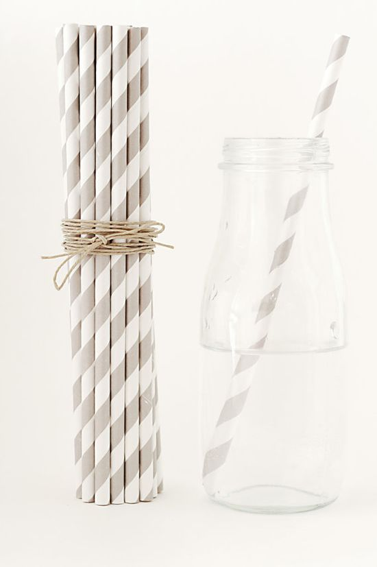 25 Striped GRAY Paper Straws Gray and White by FancyThatLoved, $4.00
