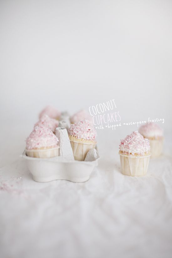 cocOnut cupcakes with whipped mascarpone frosting