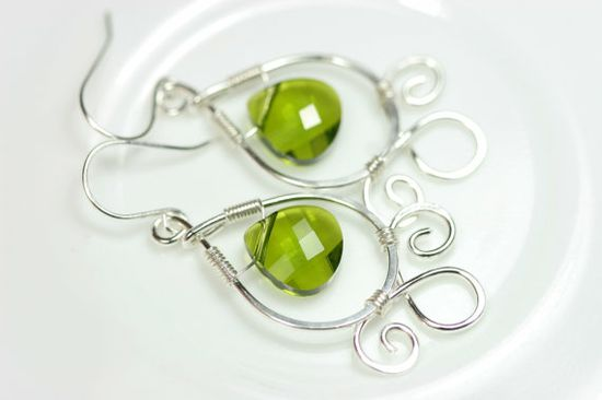 Green Swarovski Earrings Wire Wrapped Jewelry by JessicaLuuJewelry, $40.00