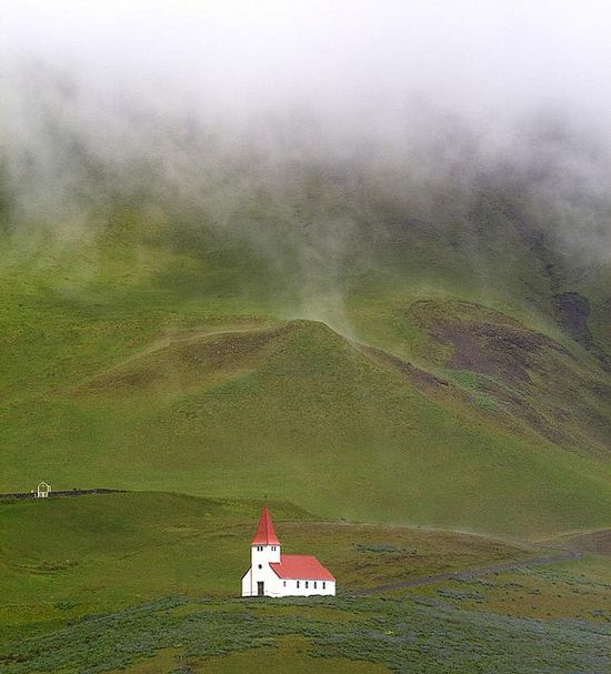Vik Church    A remote church near a town called Vik, Iceland.  It is part of the National Church of Iceland, as are most of the churches, which is a Lutheran branch of Christianity.