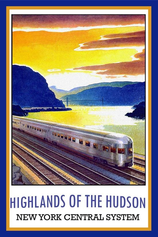 Highlands of the Hudson  New York Central System #vintage #travel #poster #USA