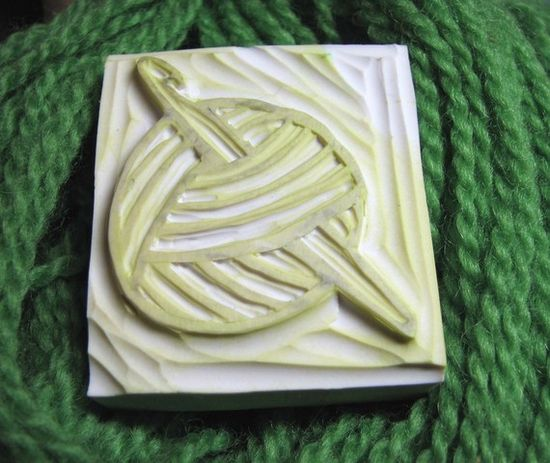 Hand-Carved Rubber Stamp - Yarn with Crochet Hook