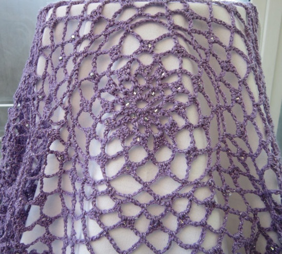 Lilac and silver crocheted wrap or scarf by WisteriaCottageCraft, £16.00