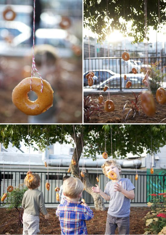 Donut tree at a Halloween party, but blogger thinks it works great for a party any time of the year.
